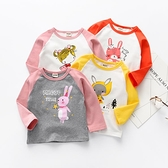 兒童長袖T恤衫新品上市新款女寶寶秋裝卡通印花上衣兒童插肩袖打底衫