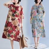 大碼洋裝 民族風複古印花長裙女新款秋季寬鬆大碼顯瘦遮肚子棉麻洋裝 生活主義