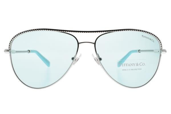 Tiffany&CO.太陽眼鏡 TF3062 6136-D9 (銀-水藍鏡片) 造型飛行款 墨鏡 #金橘眼鏡