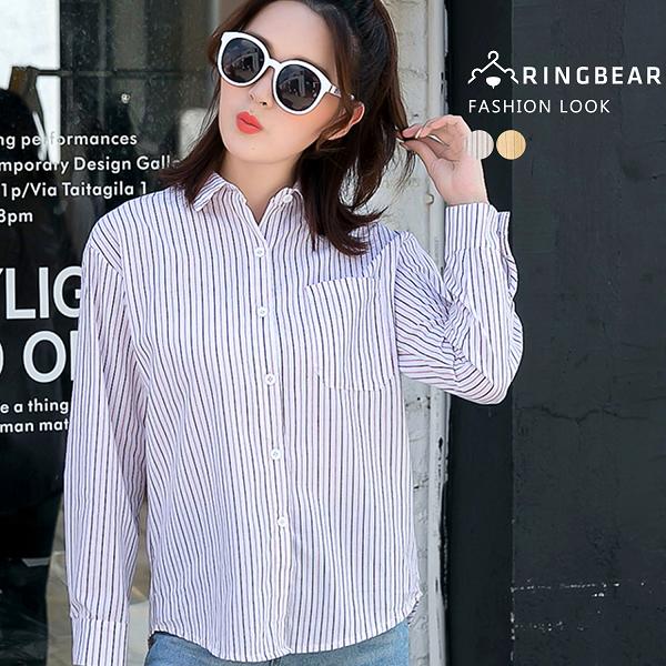 氣質襯衫--復古經典質感時尚線條真前口袋顯瘦圓弧下襬襯衫(白.黃XL-3L)-I102眼圈熊中大尺碼