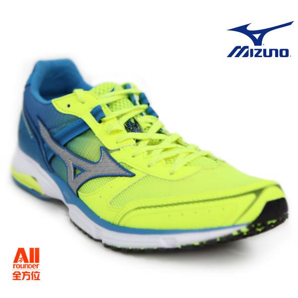【Mizuno美津濃】男款慢跑鞋 WAVE EMPEROR 3 皇速 -螢光黃藍(J1GA187604)全方位跑步概念館