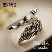 銀飾品復古泰銀可調節尾戒羽毛男士個性時尚SMY5628【極致男人】