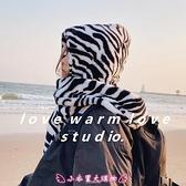造型帽子 斑馬紋毛絨護耳帽女冬季日系可愛加厚保暖圍巾帽子壹體雷鋒帽學生 - 小衣里大購物
