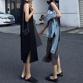 韓版寬鬆百搭無袖中長款氣質立領背心打底連身裙子女 名購居家