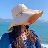 漁夫帽女夏季防曬遮陽帽大帽檐遮臉雙面大沿太陽帽子【橘社小鎮】