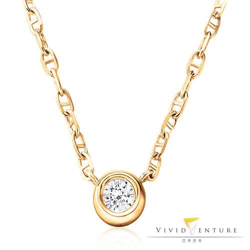 鑽石項鍊 0.18克拉14K黃K金 亞帝芬奇 純粹系列