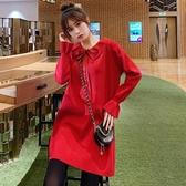 NiCELIFE 韓系針織洋裝【D9319】 蝴蝶 娃娃領 純色 長袖 毛衣裙 洋裝 毛線洋裝 毛線裙