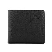 【BALLY】防刮皮革零錢袋二折短夾(黑/內裡磚紅) 6205291 0216