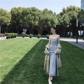 韓版2018新款連衣裙復古chic修身顯瘦純色百搭開叉時尚吊帶長裙女