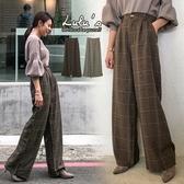 LULUS-Y後鬆緊格紋寬褲-2色  【04190324】