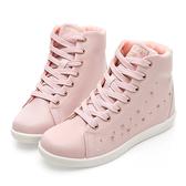 PLAYBOY 晶鑽高筒內增高休閒鞋-粉