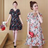 海外直發不退換大尺碼短袖洋裝女裝夏裝新款夏季性感碎花v領薄款寬松連衣裙(MA137)