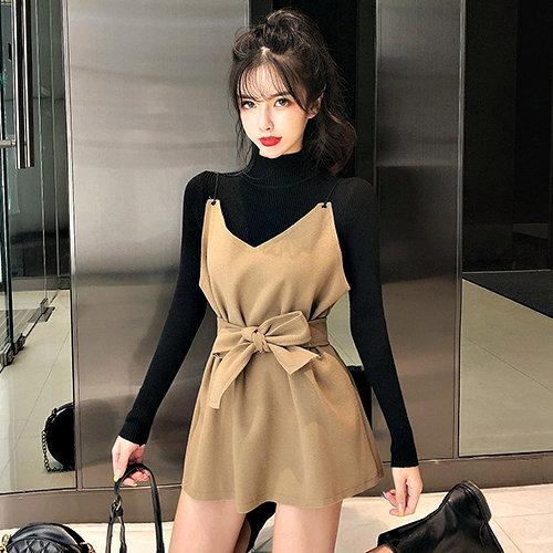 克妹Ke-Mei【ZT54627】KOREA名媛小清新毛尼吊帶背心洋裝+針織杉