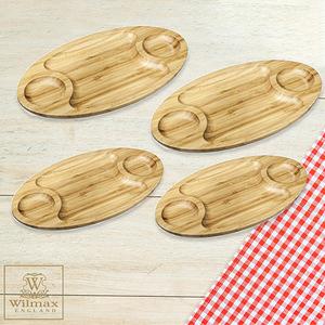 【英國 WILMAX】橢圓形竹製分隔餐盤/輕食盤四入組