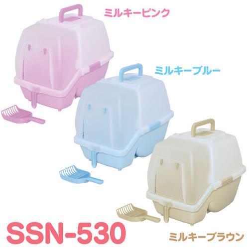 【寵物王國】日本IRIS-SSN-530付落砂脫臭屋型貓砂盆系列,有桃、青、茶色等三色可選!