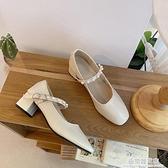 淑女風晚晚鞋2021年春新款粗跟百搭復古瑪麗珍鞋溫柔仙女風單鞋潮 極簡雜貨