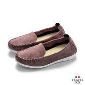 TRAVEL FOX(女) 360度舒適休閒懶人鞋-紫
