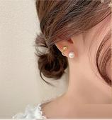 韓國簡約設計感耳環2021年新款復古港風S925銀針巴洛克珍珠耳釘女 伊蘿