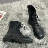 馬丁靴女春秋潮韓版瘦瘦粗跟英倫風中筒單靴子【毒家貨源】