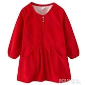兒童燈芯絨罩衣秋冬季加絨加厚寶寶幼兒園吃飯畫畫長袖羽絨服護衣 夏季新品