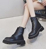 中筒靴 英倫風ann馬丁靴女中筒鞋子秋冬季加絨新款潮ins百搭帥氣短靴  維多