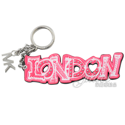 茱麗葉精品【全新現貨】MICHAEL KORS 街頭塗鴉倫敦造型鑰匙吊飾.螢光粉