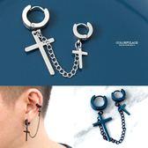 鍊條十字架鋼製耳針耳環【ND512】單支價格