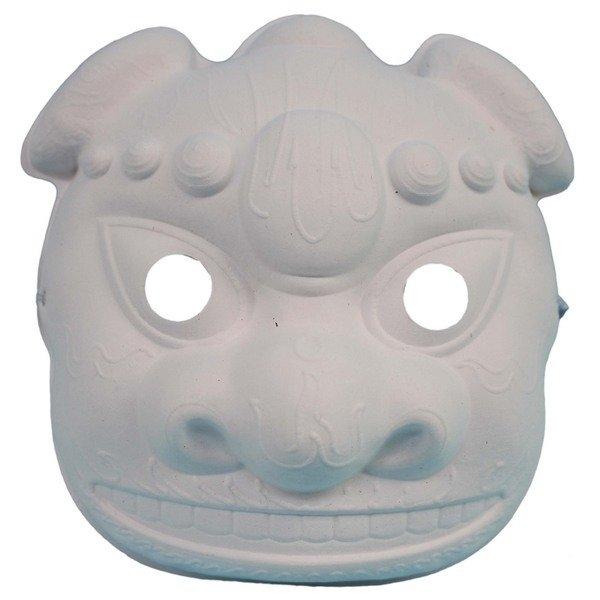 小獅頭面具 空白面具 全臉/一個入(定40) 附鬆緊帶 DIY獅頭面具 彩繪面具-AA5206