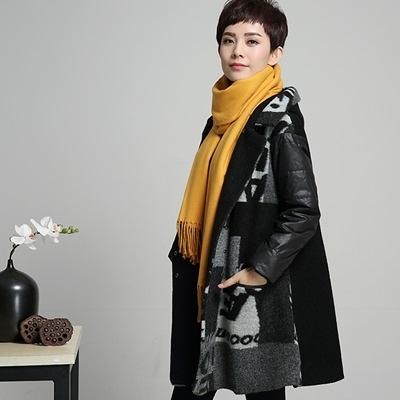 毛呢外套-秋冬羊毛長版寬鬆拼接女連帽大衣72at1【巴黎精品】