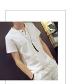 男士短袖T恤 2020春季棉麻亞麻男裝v領青年日系潮寬鬆休閒上衣服 美芭