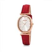 【Folli Follie】Wonder Fly晶鑽時尚橢圓真皮腕錶-亮眼紅/WF17R012SSS_RE/台灣總代理公司貨享兩年保固