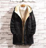 胖子羊羔毛工裝大衣男加肥加大碼棉服襖日系潮冬季加絨棉衣厚外套 挪威森林