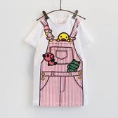 童裝卡通印花假背帶短袖連身裙兒童長款t恤