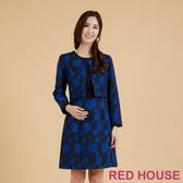 【RED HOUSE 蕾赫斯】玫瑰緹花假兩件式洋裝(深藍)