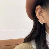 韓國氣質網紅兩戴式耳釘貝母蝴蝶耳環女2021年新款潮法式港風耳飾 童趣屋