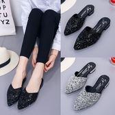 夏季新款尖頭水鑽平底拖鞋女韓版包頭低跟半拖百搭外穿涼拖鞋 免運 生活主義