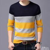 男士長袖t恤春秋季韓版男裝圓領大碼中青年打底衫針織衫 深藏blue