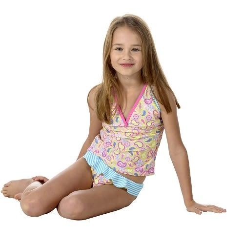 兒童泳衣 二件式泳衣★渦漩紋花系列★ Xtra life 萊卡 澳洲鴨嘴獸 UPF 50+ 抗UV  (小女4-8歲)