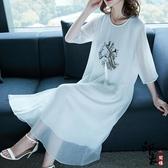 大尺碼洋裝歐美寬鬆氣質復古刺繡飄逸仙女過膝連身裙 降價兩天