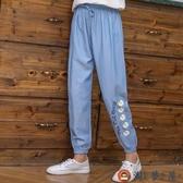 女童長褲冰絲牛仔薄款夏季兒童純棉褲子休閒運動【淘夢屋】