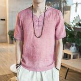 夏季短袖t恤中國風男士半袖亞麻棉麻禪上衣服休閑民族復古風 QQ1139『愛尚生活館』