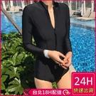 【現貨】梨卡 - 韓國[性感深V+舒適無鋼圈]拉鍊防曬長袖黑色顯瘦連身泳裝衝浪潛水衣CR199