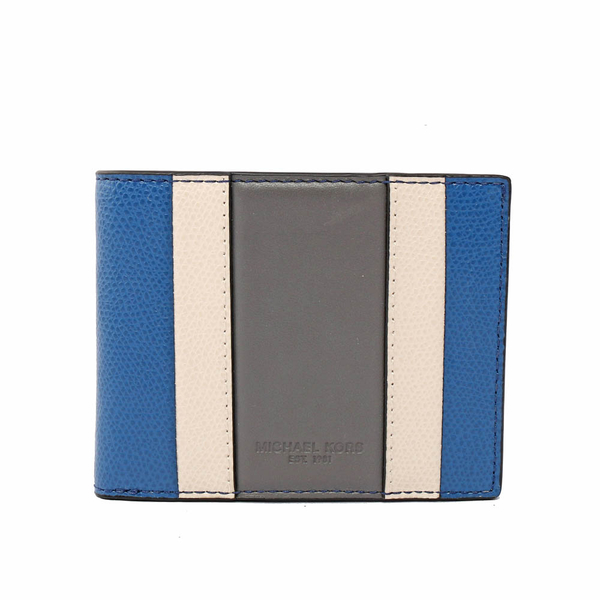 【MICHAEL KORS】防刮皮革拼色對開6卡短夾(藍/白/灰) 36T7LWRF5T SBL