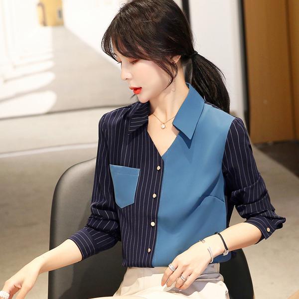 清倉388 韓系雪紡拼色條紋寬鬆襯衣單品長袖上衣