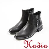 ★2017秋冬新品★kadia.經典率性側扣牛皮短靴(7701-90黑)