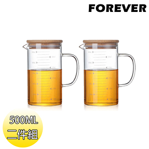 【日本FOREVER】竹蓋可微波耐熱玻璃杯/公道杯/烘焙量杯兩入組(5