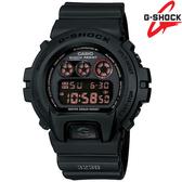 G-SHOCK DW-6900MS-1電子錶 紅黑色液晶 霧黑橡膠 軍風 53mm DW-6900MS-1D CASIO卡西歐 消光黑