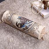 記憶枕貢緞提花枕圓糖果枕成人單人護頸枕圓枕頭沙發抱枕靠墊蕎麥枕【中秋節禮物好康八折】