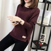 長袖上衣針織打底衫女秋裝新品短寬鬆毛衣套頭秋冬季外套學生