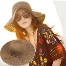 時尚夏日遮陽草帽 可折疊沙灘遮陽帽5